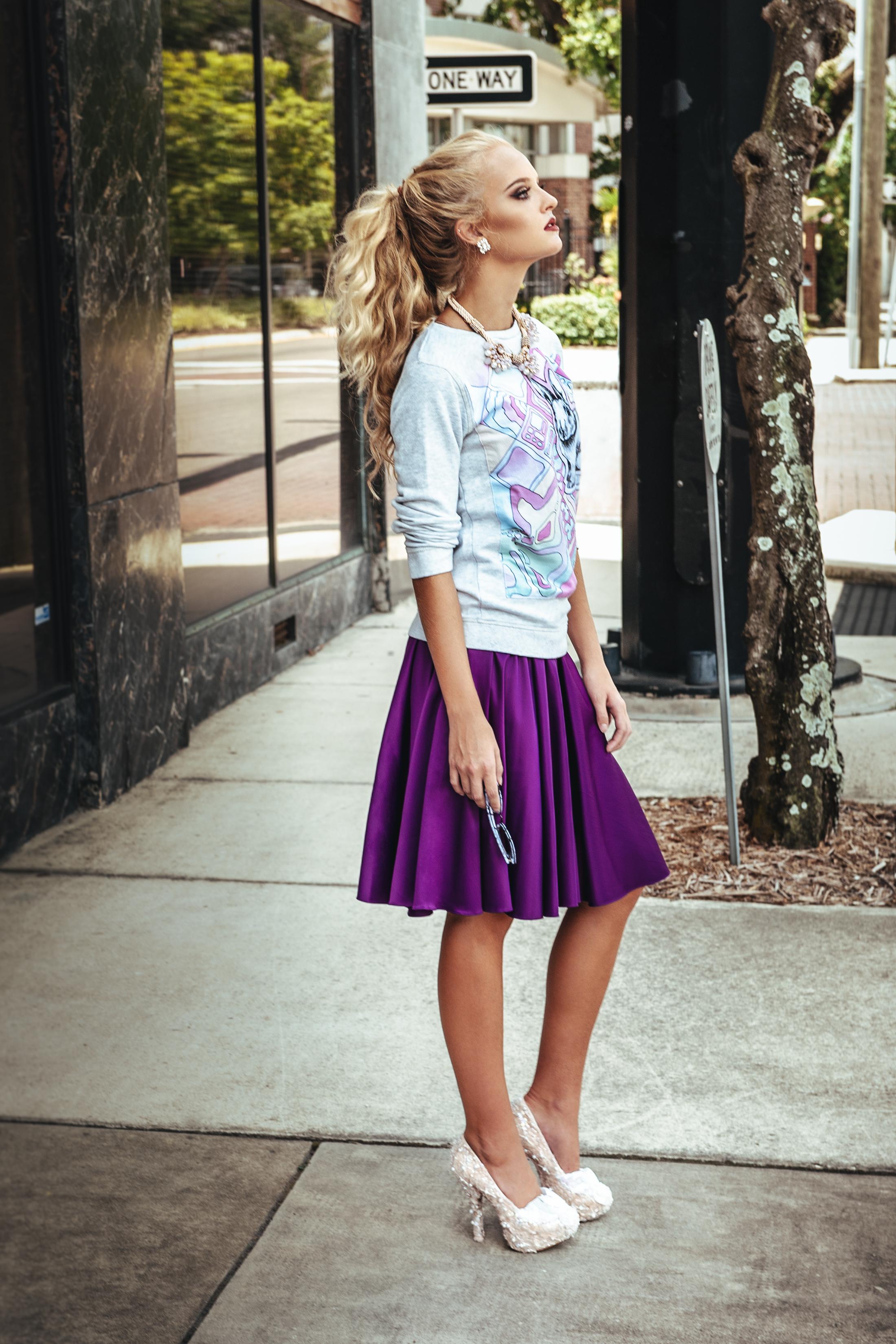 Street Style ~ Dreams Satin Skirt Long in Morning Violet ...